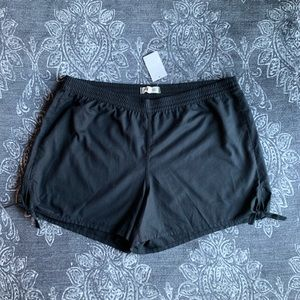 Madewell Side Tie Soft Shorts In Almost Black XXL
